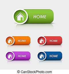 Colored rectangular web buttons home vector eps 10