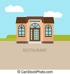 Colored restaurant building illustration