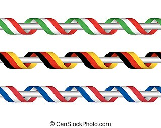 Colored ribbon with the Italian , German and French...