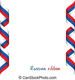 Colored ribbon with the Russian tricolor, symbol of the Russian flag isolated on white background, sign Made in Russia