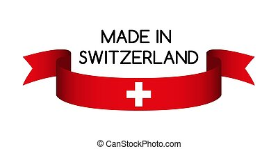 Colored ribbon with the Swiss colors, Made in Switzerland symbol, Swiss flag isolated on white background, vector illustration