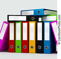 colored ring binders on white background -digital artwork