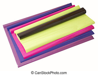 Colored rolls of paper