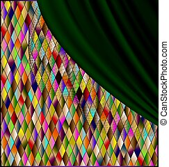 colored romb background with green drape - many colored romb...