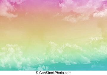 colored., rose, ciel bleu, pastel