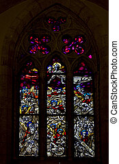 colored rose window in  naples