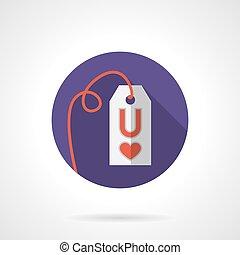 Colored round love proposal label vector icon