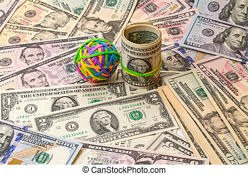 Colored rubber bands for money and dollars