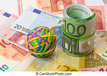 Colored rubber bands for money and euro