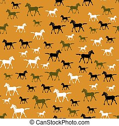 Colored Running Horse Seamless Pattern