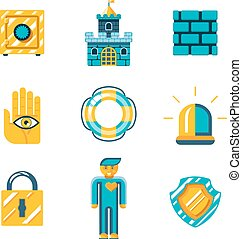 Colored Safety and Insurance Icons - Graphic Designs - Set...