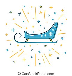 Colored Santa s sleigh icon in thin line style