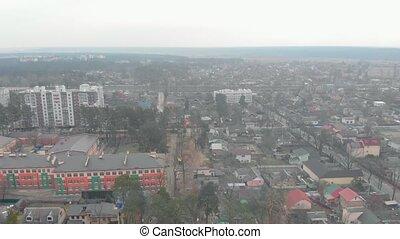 Colored school building drone aerial view Irpin Ukraine