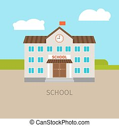 Colored school building illustration