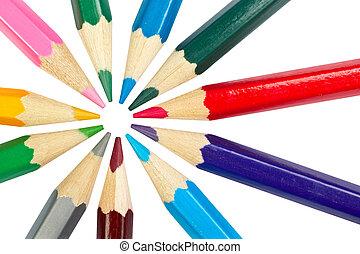 Colored school pencils - Assortment of coloured pencils...