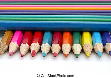 Colored school pencils closeup