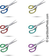 Colored scissors on a white background