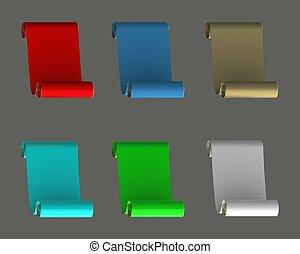 Colored scrolls.
