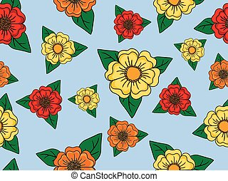 Colored seamless floral pattern on blue background