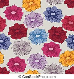 Colored seamless floral pattern on light background
