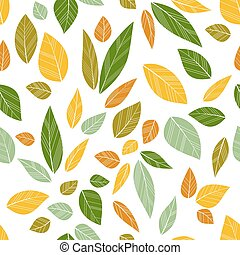 colored seamless leaves on white background. vector...