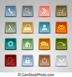 Colored set web squere buttons template vector eps 10