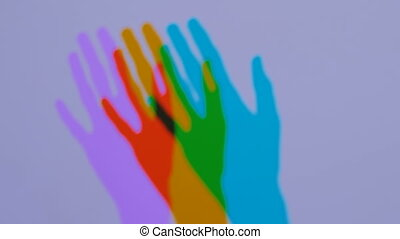 Colored shadows of woman hand - Interactive exposition in...