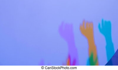 Colored shadows of woman hands - Interactive exposition in...