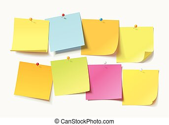 Colored sheets of note papers with curled corner and push pin