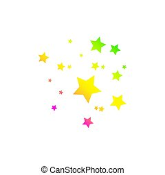 Colored Shooting Star with Elegant Star Trail on White Background