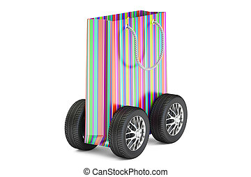 colored shopping bag with wheels, delivery concept. 3D rendering
