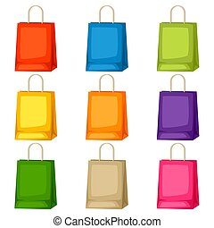 Colored shopping bags templates. Set of promotional gifts and souvenirs