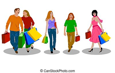 colored shopping people