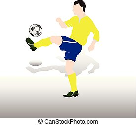 Colored Silhouette Soccer player with ball playing foot, in blue shorts and a t-shirt, on white background,