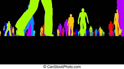 Colored silhouettes of a crowd of people on a black