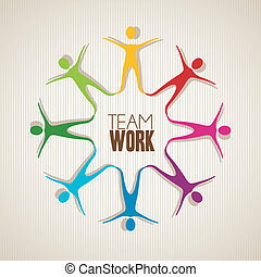teamwork - colored silhouettes of people holding hands,...
