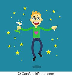 simple flat art illustration of a cartoon happy guy with...