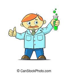 simple vector cartoon flat art illustration of a scientist