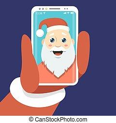 simple vector flat art illustration of a cartoon Santa Claus who photographs himself