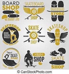 Colored Skateboarding Emblem Set