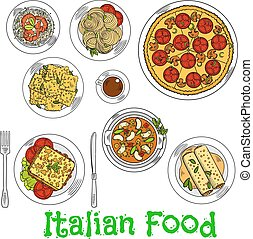 Colored sketch of healthy italian dishes