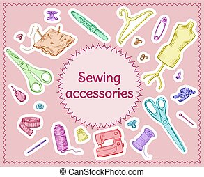 Colored Sketch Sewing Tools Set