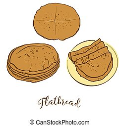 Colored sketches of Flatbread bread. Vector drawing of ...