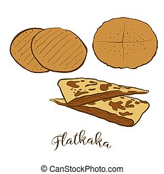 Colored sketches of Flatkaka bread. Vector drawing of Flatbread food, usually known in Iceland. Colored Bread illustration series.