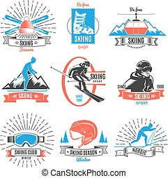 Colored Skiing Vintage Labels Set