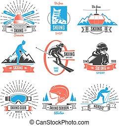 Colored Skiing Vintage Labels Set