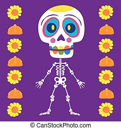 It is a vector illustration of a skull of day of the dead