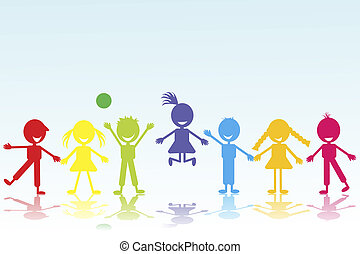 colored smiling kids silhouettes