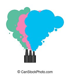 Colored smoke from pipes of factory. Industrial landscape. Plant poisonous emissions. Environmental pollution. Ecological catastrophy. Vector illustration