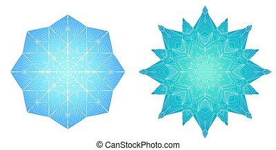 Colored snowflakes from ice.